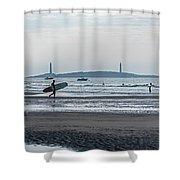 Surfing On Good Harbor Beach Gloucester Ma Shower Curtain