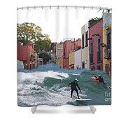 Surfing Quebrada Shower Curtain