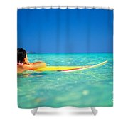 Surfing Serenity Shower Curtain by Dana Edmunds - Printscapes