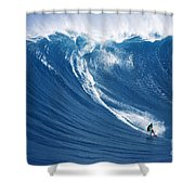 Surfing The Infamous Jaws Shower Curtain