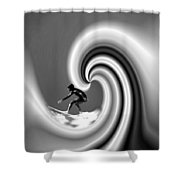 Surfing The Pacific In Black And White Shower Curtain