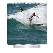 Surfing The White Wave At Huntington Beach Shower Curtain