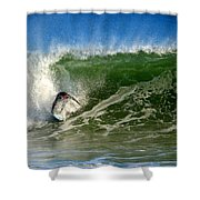 Surfing The Winter Atlantic Shower Curtain