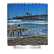 Surfing Today Shower Curtain