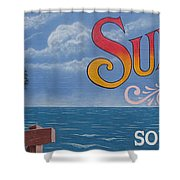 Surfside Beach Sign Shower Curtain