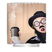 Surprised Business Person High On Coffee Shower Curtain