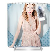 Surprised Housewife With Burnt Out Ironing Board Shower Curtain