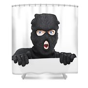 Surprised Robber Holding Blank Security Sign Shower Curtain