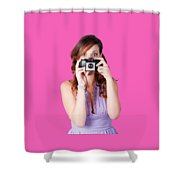 Surprised Woman Taking Picture With Old Camera Shower Curtain