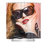 Surprised Young Woman Wearing Fashion Sunglasses Shower Curtain
