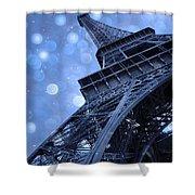 Surreal Blue Eiffel Tower Architecture - Eiffel Tower Sapphire Blue Bokeh Starry Sky Shower Curtain