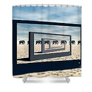 Surreal Elephant Desert Scene Shower Curtain