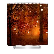 Surreal Fantasy Autumn Woodlands Starry Night Shower Curtain