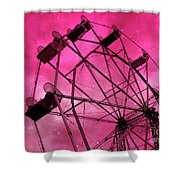 Surreal Fantasy Dark Pink Ferris Wheel Carnival Ride Starry Night - Pink Ferris Wheel Home Decor Shower Curtain