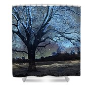 Surreal Fantasy Fairytale Blue Starry Trees Landscape - Fantasy Nature Trees Starlit Night Wall Art Shower Curtain