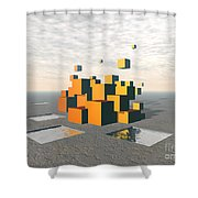 Surreal Floating Cubes Shower Curtain