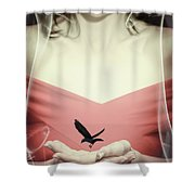 Surreal Image Of Woman With Bird Shower Curtain
