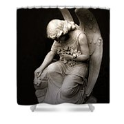 Surreal Sad Angel Kneeling In Prayer Shower Curtain