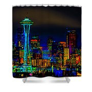Surreal Seattle Skyline Shower Curtain