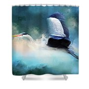 Surreal Stork In A Storm Shower Curtain