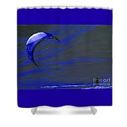 Surreal Surfing Blue Shower Curtain