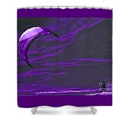 Surreal Surfing Purple Shower Curtain