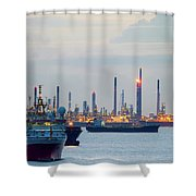 Survey And Cargo Ships Off The Coast Of Singapore Petroleum Refi Shower Curtain
