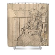 Susan On A Balcony Holding A Dog [recto] Shower Curtain