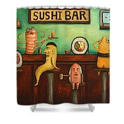 Sushi Bar Darker Tone Image Shower Curtain