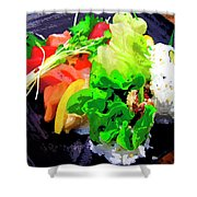 Sushi Plate 5 Shower Curtain