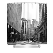 Sutter Street Cyclists - San Francisco Street View Black And White  Shower Curtain
