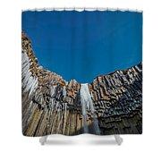 Svartifoss Waterfall, Iceland Black Shower Curtain