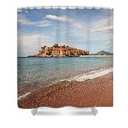 Sveti Stefan Island Iconic Landmark Shower Curtain