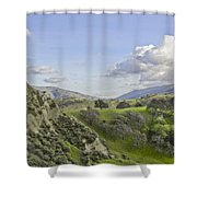 Swallow Bay Cliffs Shower Curtain