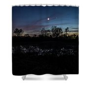 Swamp At Dusk With Moon Shower Curtain