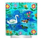 Swan And Two Ducks Shower Curtain by Sushila Burgess