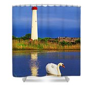 Swan At The Lighthouse Shower Curtain