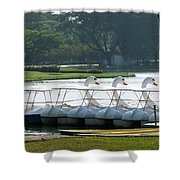 Swan Boat In A Lake Shower Curtain