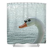 Swan Boat In The Lake Shower Curtain