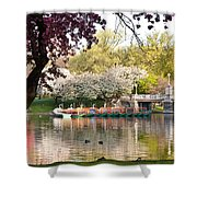Swan Boats With Apple Blossoms Shower Curtain by Susan Cole Kelly
