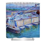 Swan Island Poetry - Large Original Contempory Impressionist Painting Shower Curtain
