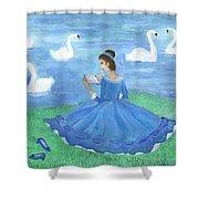 Swan Lake Reader Shower Curtain