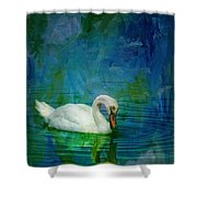 Swan On A Blue And Green Lake Shower Curtain