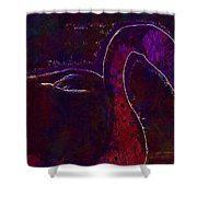 Swan Silhouette Drop Of Water  Shower Curtain