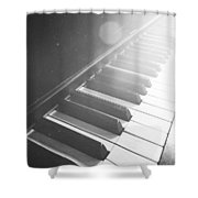 Swan Song Music Piano Keys Black And White Shower Curtain