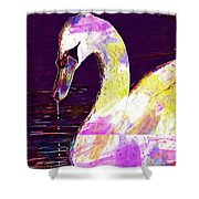 Swan White Water Bird White Swan  Shower Curtain