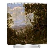 Swanevelt, Herman Van Woerden, 1603 - Paris, 1655 Landscape With Hermit Bound In Chains 1634 - 1639. Shower Curtain