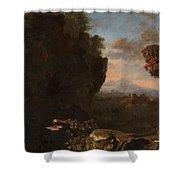 Swanevelt, Herman Van Woerden, 1603 - Paris, 1655 Landscape With Saint Benedict Of Nursia 1634 - 163 Shower Curtain
