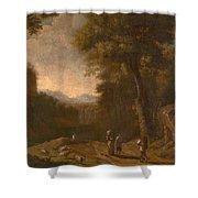 Swanevelt, Herman Van Woerden, 1603 - Paris, 1655 Landscape With Travellers And A Shepherd 1635 - 16 Shower Curtain