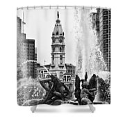 Swann Memorial Fountain In Black And White Shower Curtain